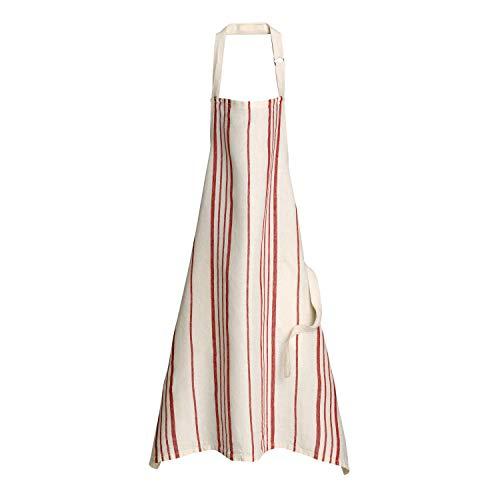 Winkler - Tablier de cuisine - Tablier de cuisine réglable - Tablier pour la cuisine - Tablier barbecue - Tablier 100% Lin - 80 x 85 - Rouge/ecru Rouge - Karma