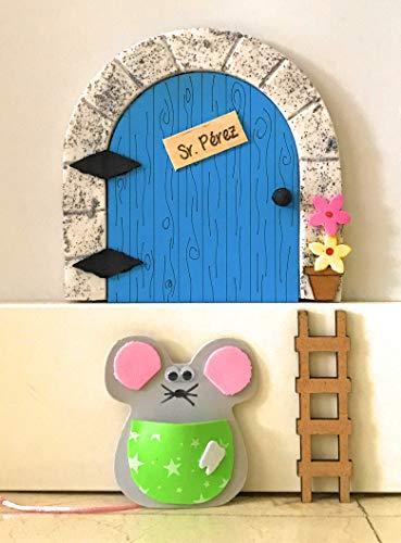 Puerta ratoncito Pérez MADERA AZUL QUE SE ABRE + escalera + ratón...