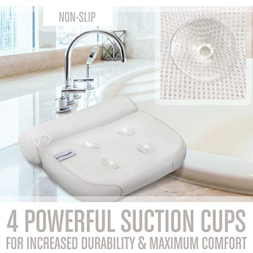Bath Pillow (Premium Quality), Luxury Bathtub Pillow Rest (Powerful Suction Cups), Bath Pillows for Tub Neck and Back Support, Spa Pillow for Bathtub (Breathable 3D Mesh), Hot Tub Pillow (Head)