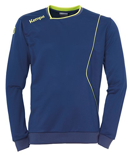 Kempa Herren Curve Training Top Shirt, Deep Blau/Fluo Gelb, 128
