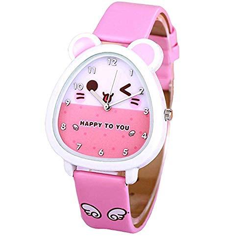 Girl Child Digital Watch, Time Teacher Watch 3D Cartoon Leather Strap Lovely Quartz Leisure Little Hamster Watch - Birthday Present