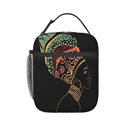 ZXZNC Insulated Meal Prep Lunch Bag Beautiful Black African Woman Earring Unique Cooler Thermal Lunch Box Small Cute School Lunch Tote Bags Cool Lunchbox For Women Men Adult Kids Girls Boys Woman Ladi
