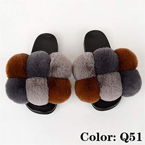 JINSUO Sommer Frauen Hausschuhe Faux Pelzrutschen Für Frauen Flauschige Hausschuhe Haus Weibliche Schuhe Frau Hausschuhe mit Pelz Pom Pon Pelziges Folien (Farbe : Q51, Shoe Size : 5)