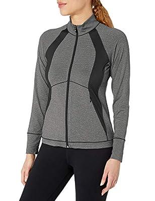 Cutter & Buck Women's Smooth Melange Stripe Shoreline Colorblock Full Zip Jacket, Charcoal Heather, XXX-Large