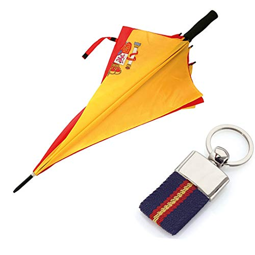 Paraguas de la Bandera Española + Llavero ESP-ANTIVENTISCA-126 CM- con Escudo ESPAÑA-Tela Impermeable -Colores Vistosos- Escudo de España- Paraguas de Golf