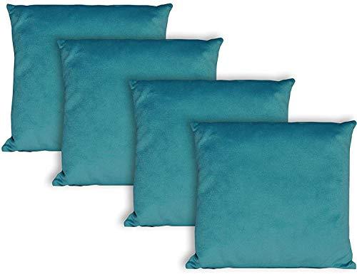 Milanino Dekokissen 40x40 mit Füllung und Bezug | 4 Stück Couchkissen Sofakissen Set | samtweiche Zierkissen mit Reißverschluss | quadratische Deko Kissen für Wohnzimmer- Sofa & Couch (Türkis)