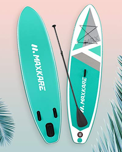MaxKare® Stand Up Paddle Board Aufblasbares SUP Board Set mit 305 x 76 x 15 cm Premium Aufpumpbares Paddling Board & Bidirektional Pumpe & Rucksack Tragbar (Surfboard Unterstützung für bis zu 150KG)