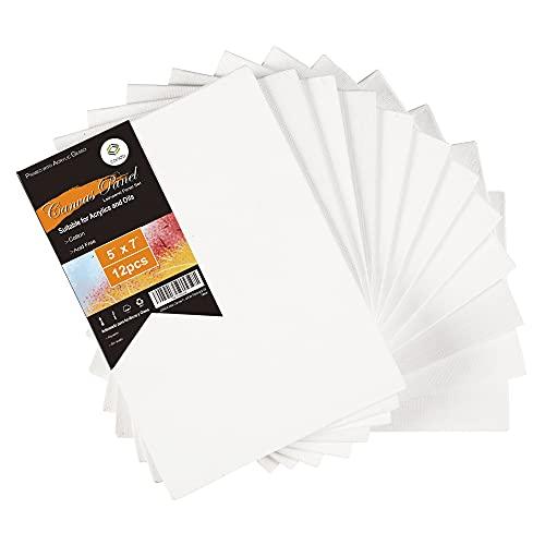 CONDA 12.7cm x 17.7cm (5  x 7 ) Paneles de Lienzo Paquete de 12 Tablero de Lona sin ácido