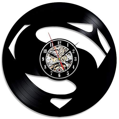 Usmnxo Mural Reloj de Pared decoración niño Dormitorio Disco de Vinilo Reloj de Escritorio silencioso Estilo Retro Reloj decoración del hogar LED con lámpara 12 Pulgadas (30 cm)