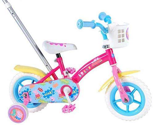 Peppa Pig - Bicicleta Infantil con caña de Empuje, Color Fucsia, 10 Pulgadas