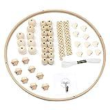 DIY Holz Mobilen Rahmen,Hölzerne Perlen Windspiele,Bett Dekoration Spielzeug,Natürliche Handwerk Holz Ringe,Mobile Rahmen Holz,Kinder Bettglocke,Kinderzimmer Hängende Bettglocke Mobile für Babybett