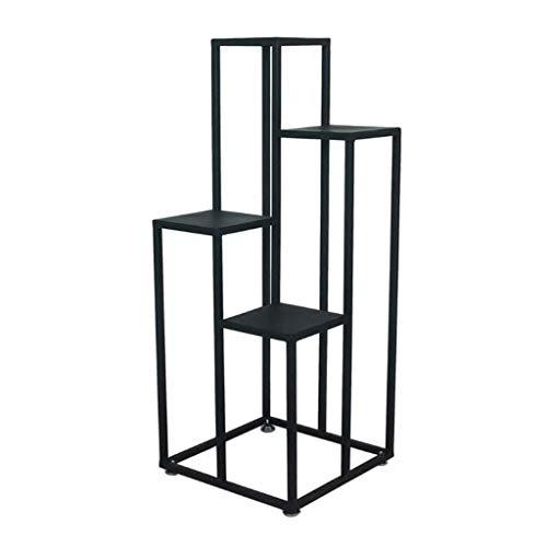 LYN Plant Stand, 4 Tier Zwart Vierkante Metalen Bloempot Binnen Plant Pot