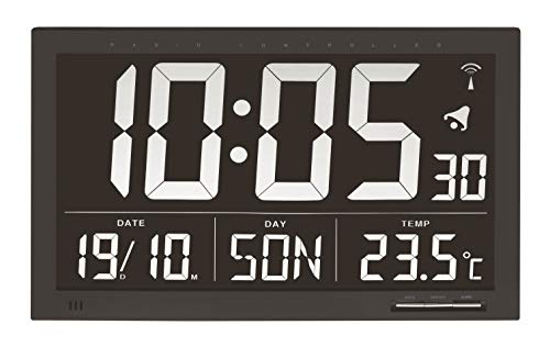 TFA Dostmann Digitale XL-Funkuhr, Wanduhr, mit Temperatur, 24h Anzeige, groß, schwarz, 60.4505