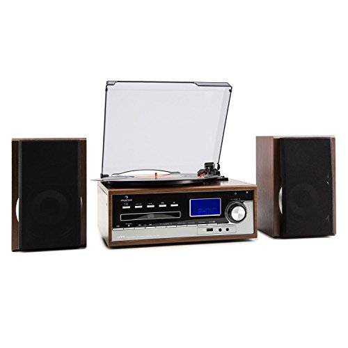 auna Deerwood Stereoanlage mit Plattenspieler und Kassettendeck - Stereoanlage, UKW-Radiotuner, AUX-Eingang, 2-Wege-Bassreflexlautsprecher, USB, max. 45 U min. CD-Player, schwarz-Silber
