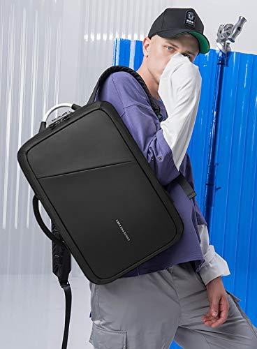 FANDARE Moda Zaino Uomo Laptop USB Charging Port Borsetta Commuter Student Outdoor Viaggio Anti-theft Rucksack Impermeabile Poliestere Nero