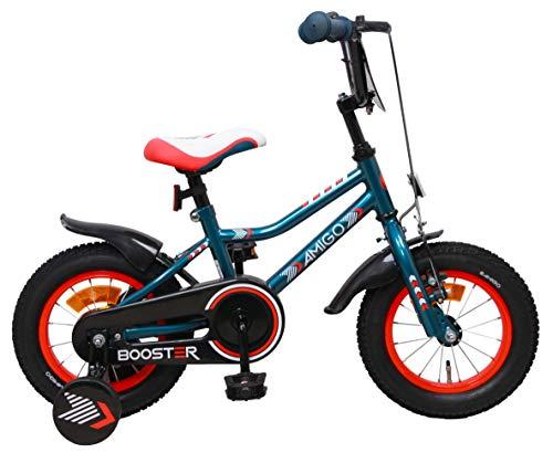 Booster - Kinderfahrrad - 12 Zoll - Jungen - mit Rücktritt und Stützräder - ab 3 Jahre - Blau