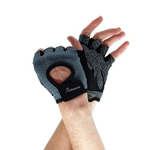 Actesso Breathable Fitness Gloves - Gepolsterte Fingerlose Handschuhe für Radfahren, Fitness, Gewichtheben (M, Grau)
