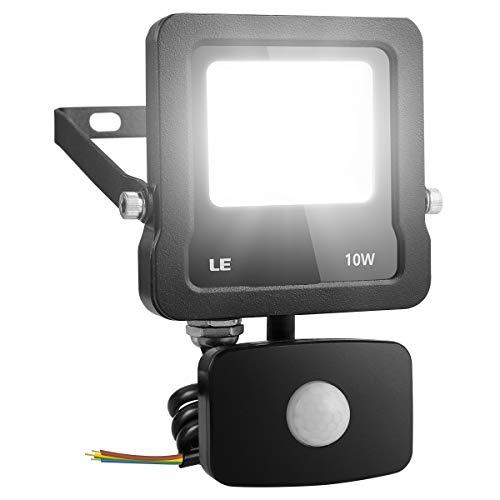 LE Faretto LED con PIR Sensore di Movimento 10W 800 lumen, Faro da Esterno Ultra Luminoso Bianco...