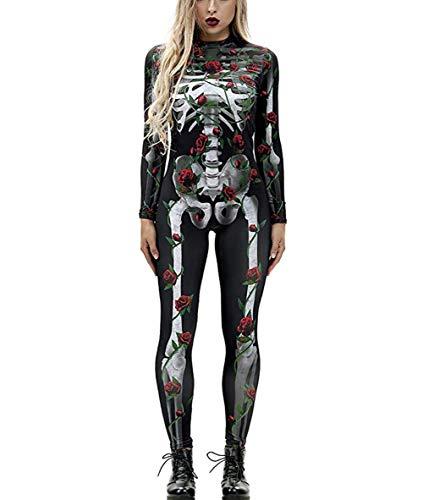 Idgreatim Frauen 3D Knochen Rose Print High Neck Zipper Zurück Langarm Catsuit Jumpsuit Bodys für Halloween M