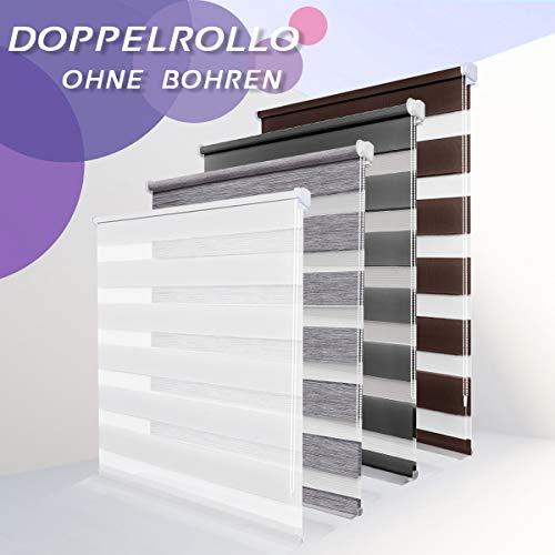 Allesin Doppelrollo Duo Rollo Klemmfix ohne Bohren, Rollo für Fenster und Tür, Seitenzugrollo Easyfix, lichtdurchlässig und verdunkelnd, sichtschutz und Sonnenschutz, 65 x 130 cm Weiß