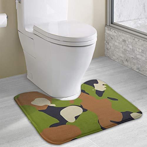 Mark Stars Toilettenbadematte U-förmig Camouflage Print Badezimmerteppich rutschfest Washable Absorbent Toilet Carpet 40 * 49cm