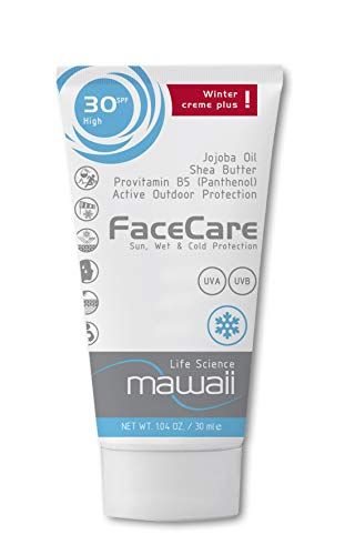 Mawaii WinterCare Face SPF 30 - Outdoor-Sport & Winter-Sonnencreme, Anti-Aging Sonnenschutz mit Wind-, Kälte- und Nässeschutz, Sonnenmilch ohne Parabene (1 x 30ml)