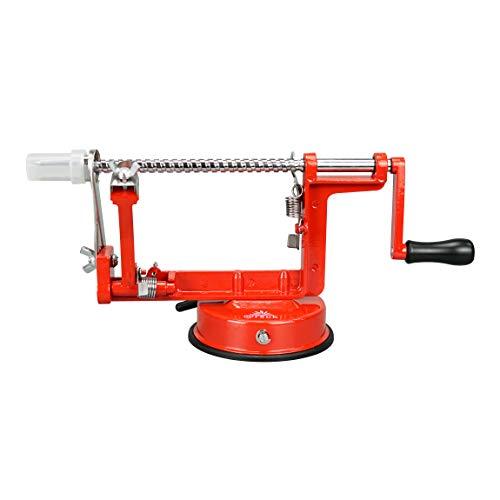 ARSUK Pomme Éplucheur Trancheur Corer Coupeur Decorer Fruit Patate et Légume Éplucheur Peeling Machine (Rojo)
