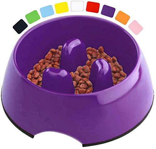 DDOXX Fressnapf Antischlingnapf, rutschfest | viele Farben & Größen | für kleine & große Hunde | Futter-Napf Katze | Hunde-Napf Hund | Katzen-Napf | Melamin-Napf | Lila Violett, 300 ml