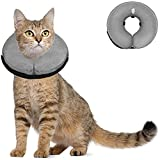 Soft Dog Cone Collar for Large Medium Small Dogs and Cats After Surgery, Inflatable Dog Neck Donut Collar,Inflatable Cat Cone Collar,E-Collar for Dogs Recovery, Dog Cones Alternative (Small, Grey)