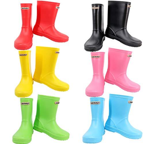 Leopard Boys Girls Non-Slip Waterproof Kids Wellies Wellington Boots - Yellow UK4 Adult - Unisex Children Motorbike Rain Boots Shoes