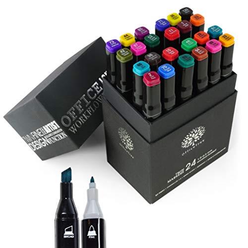 OfficeTree Set Twin Marker Duo-Fasermaler - Grafiti Stifte in Weiche und Intensive Farben zum Skizzieren Layouten Illustrieren Zeichnen Malen (24 Stück, Intensive Farben)