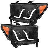 OEDRO Headlight Assembly Compatible with 2007-2013 Toyota Tundra | 08-17 Sequoia Headlamps Housing LED Headlights Black