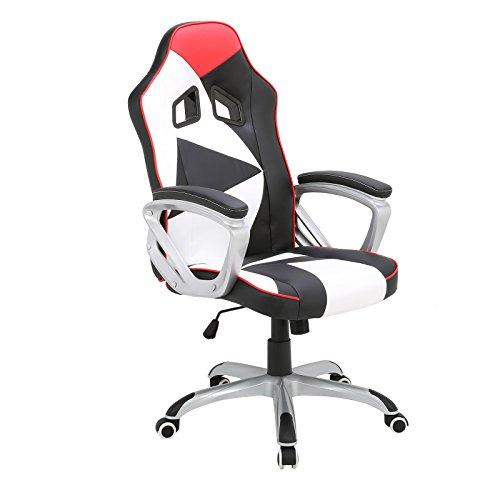 WOLTU® Racing Stuhl Bürostuhl Schreibtischstuhl Chefsessel Gamingstuhl Drehstuhl Sportsitz ergonomisch, mit Armlehne höhenverstellbar Kunstleder gut gepolstert mit Wippmechanik Weiß BS07ws-1