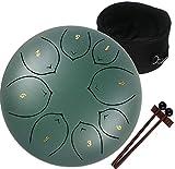 Amkoskr Tambor de Lengua de Acero 8 Pulgadas 20cm 8 Notas C Chiave, Instrumento de Percusión Tambor de Mano para Niño con Mazos y Bolsa de Transporte(Verde)