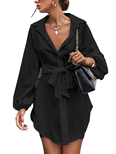 SheIn Women's Tie Front Long Bishop Sleeve Blouse Collar Button Longline Tunic Shirt Top Black Small