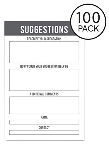 Suggestion Box Cards for Comments | Refill Pack 4 x 6 inches 100 Per Pack by Sutter Signs