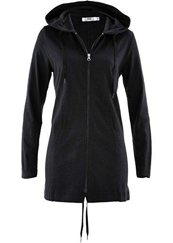 Damenjacke Shirtjacke mit Kapuze, Parka-Jacke, Longjacke schwarz (48/50)