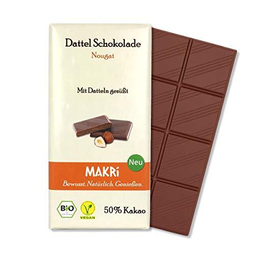 MAKRi Dattel Schokolade - Nougat 50% Kakao | Vegane Schokolade mit Datteln gesüßt | Ohne raffinierten Zucker | Laktosefrei | Bio Halbbitter (1x 85g)