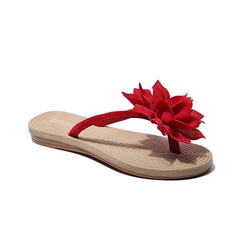 Pantofole da Donna/Uomo,Fiori Infradito Pantofole Estate Roman Style Sandali E Alippers Flat Heel Beach Pantofole per Piscina Scarpe Donna Casa Camera da Letto Sandali, Rosso,35