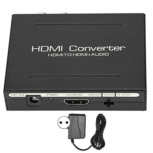 Salaty Divisor de Audio, convertidor de Carcasa de Acero HDCP 1.4 1.4b con Fuente de alimentación para TV(Transl)