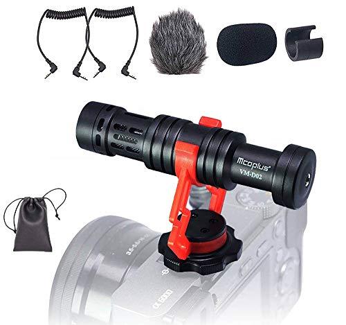 Videocamera Microfono, Venidice VM-D02 Microfono Mini per fotocamera esterno per Canon Nikon Sony DSLR Cam, Videocamera, Smartphone Android (360° Rotazione)