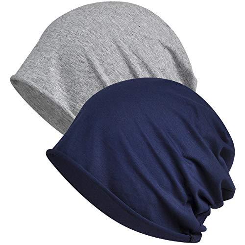 WELROG Chemo Hat Mütze für Frauen Kopftuch Superweicher Slouchy Turban Kopfbedeckung Kopfwickel Chemo Headgear Head Wraps Schlafhut gegen Krebs und Haarausfall Königsblau +...