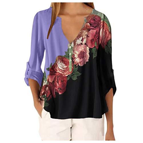 Bluse T-Shirt Frauen Casual Tops Shirt Damen V-Ausschnitt Blumendruck Loses T-Shirt (XL,1Lila)