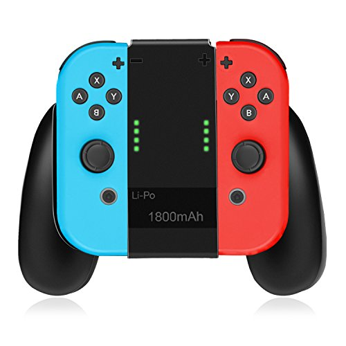 TNP Joy-Con Charging Grip Accessory for Nintendo Switch - Joy-Con Charger Comfort Grip Handle Controller Dock Station for Nintendo Switch (Black)