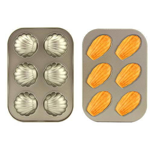 2 Pack Madeleine Mold Cake Pan, Heavy Carbon Steel Madeline Pans, 6 Cup Non-Stick Spherical/Shell Madeline Pan for Baking (Gold)