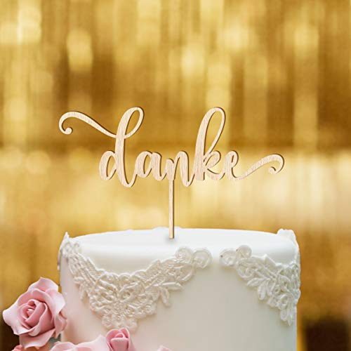 Cake Topper Danke Schriftzug - Buchenholz - XL - Tortenaufsatz, Kuchen, Tortendeko, Tortenstecker, Kuchanaufsatz, Kuchendeko