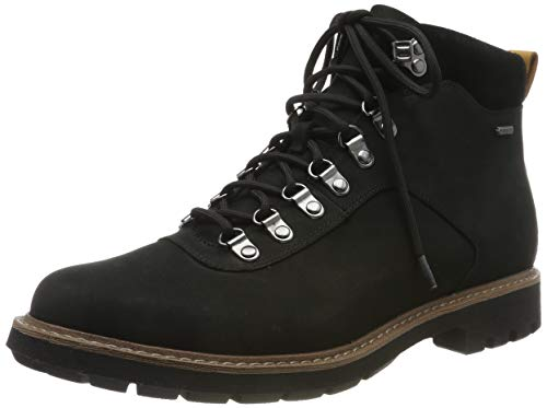 Clarks Herren BatcombeAlpGTX Biker Boots, Schwarz (Black Nubuck Black Nubuck), 44 EU