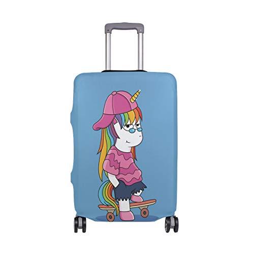 Funda de equipaje de viaje Cool Unicornios Cartoon Play Skateboard elástico Maleta Protector lavable Fundas de equipaje se adapta a 18-32 pulgadas