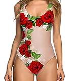 Traje de Baño Mujer 2019 SHOBDW Moda Original Impresion 3D Floral Fruta Bañadores de Mujer Natacion Reductores Monokini Bikini Push Up Sexy Traje de Baño Mujer Una Pieza(Rojo,L)