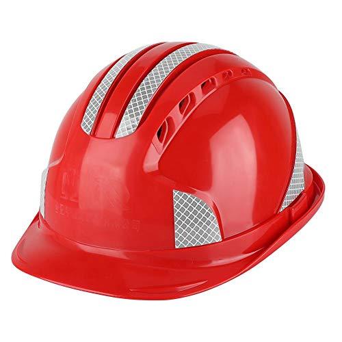 Cascos de Seguridad Trabajador de Lla Construcción Tapa Protectora Ventilación Seguridad Abs Casco Rígido Raya Reflectante Casco(rojo) ⭐